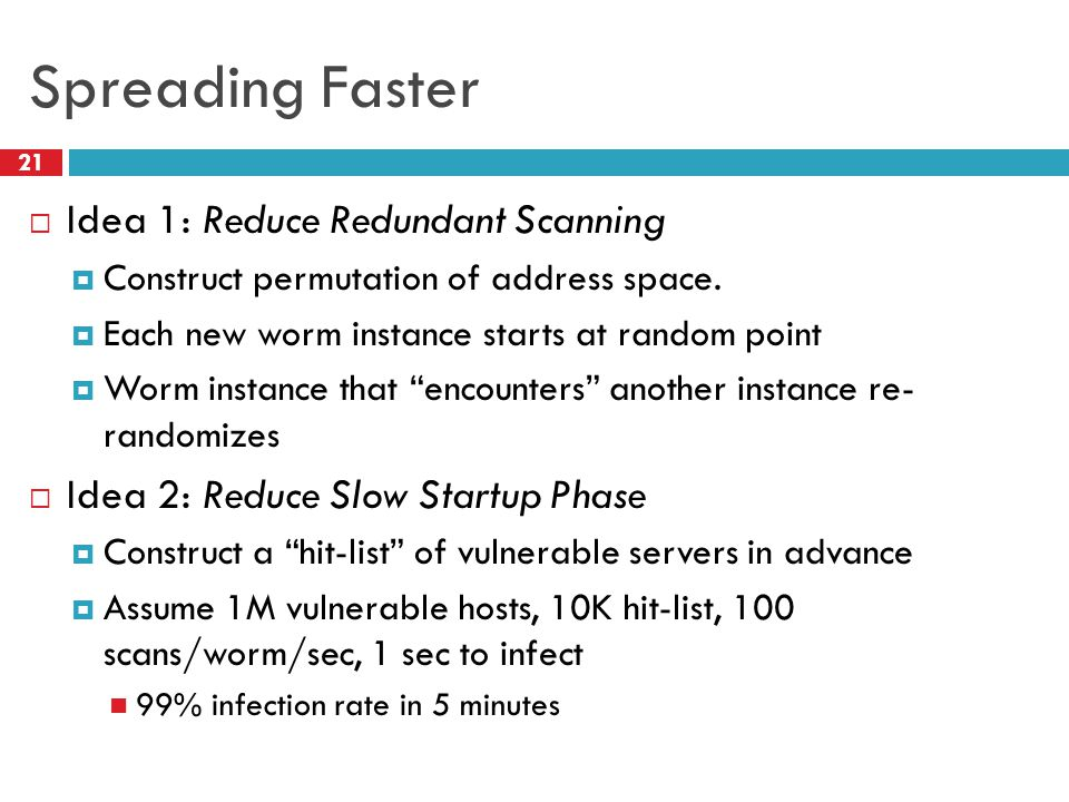 Spreading Faster  Idea 1: Reduce Redundant Scanning  Construct permutation of address space.