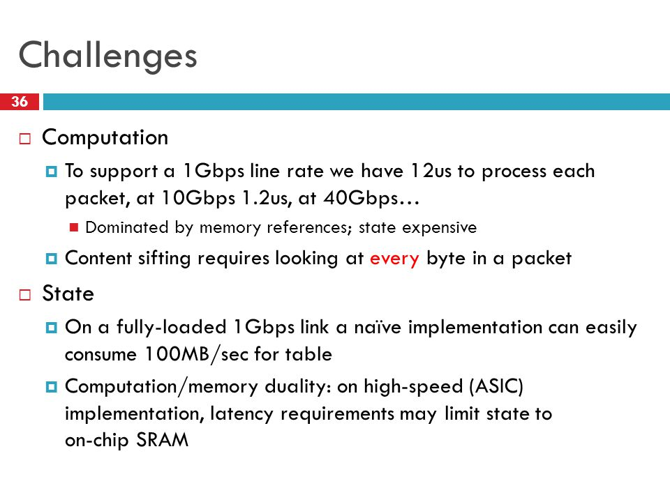 Challenges  Computation  To support a 1Gbps line rate we have 12us to process each packet, at 10Gbps 1.2us, at 40Gbps… Dominated by memory reference