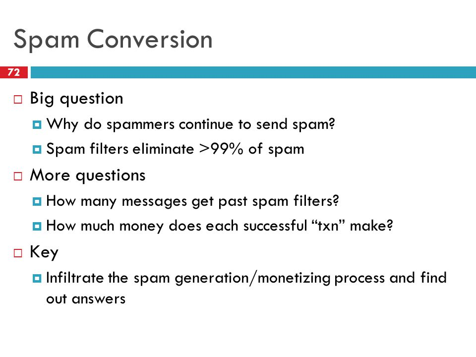 Spam Conversion  Big question  Why do spammers continue to send spam.