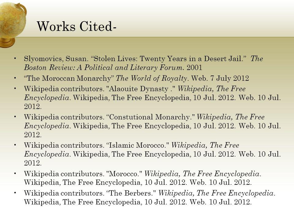 Works Cited - Slyomovics, Susan.
