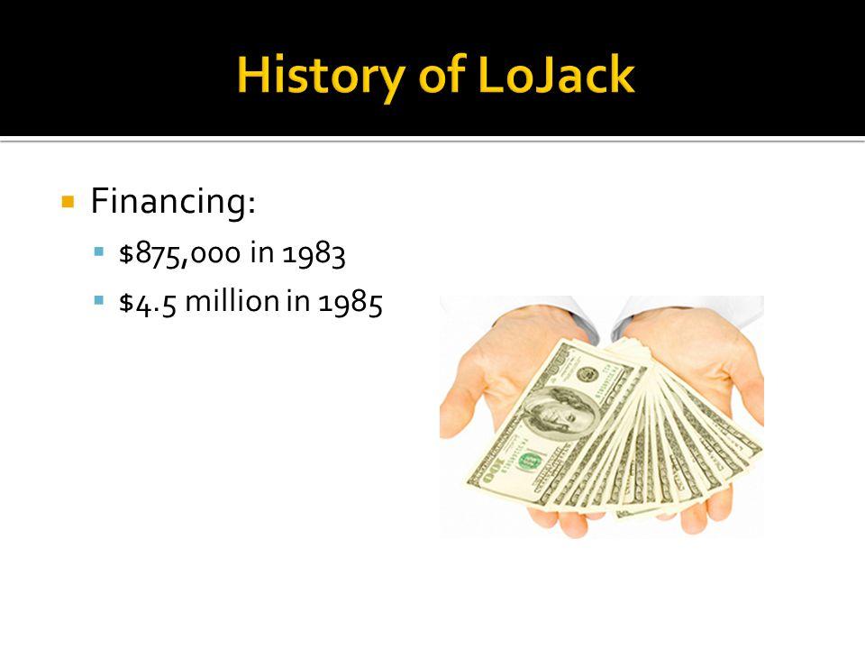  Financing:  $875,000 in 1983  $4.5 million in 1985