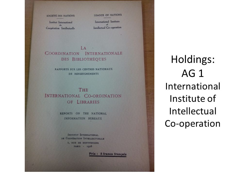 Holdings: AG 1 International Institute of Intellectual Co-operation