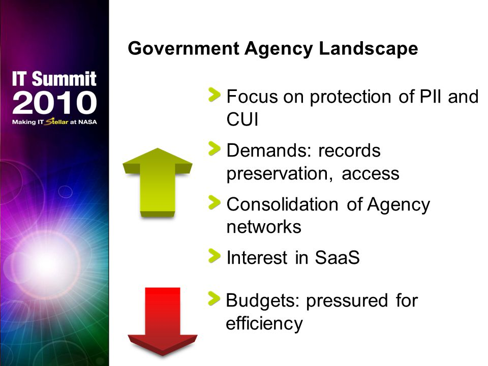 Government Agency Landscape Focus on protection of PII and CUI Demands: records preservation, access Consolidation of Agency networks Interest in SaaS Budgets: pressured for efficiency