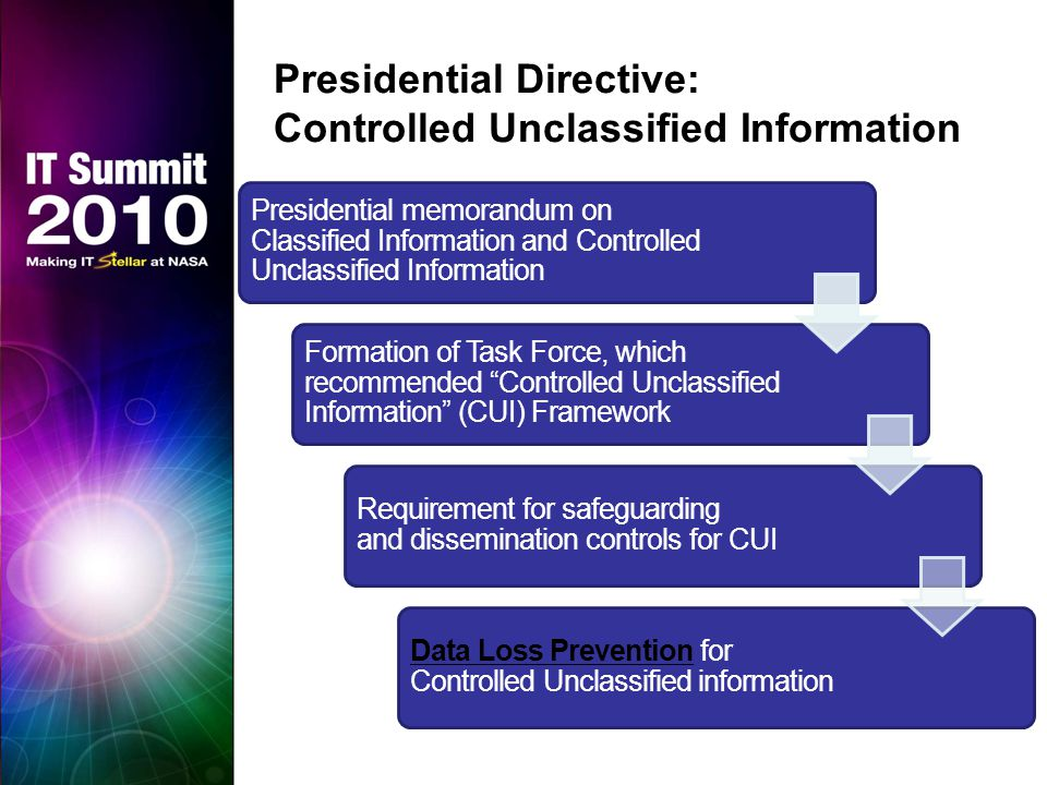 Presidential Directive: Controlled Unclassified Information Presidential memorandum on Classified Information and Controlled Unclassified Information Formation of Task Force, which recommended Controlled Unclassified Information (CUI) Framework Requirement for safeguarding and dissemination controls for CUI Data Loss Prevention for Controlled Unclassified information