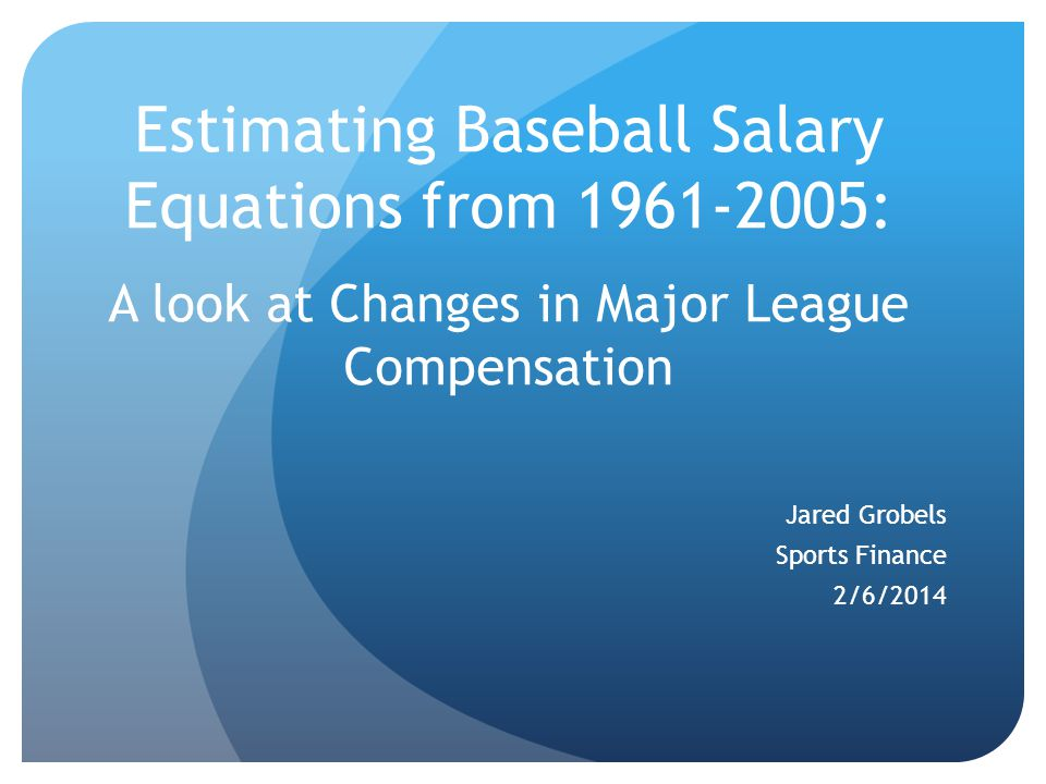 Model Early literature in this area verified that salaries are based on players' contributions to their teams' success, revenue, and profitability (Scully, 1974; Medoff, 1976).