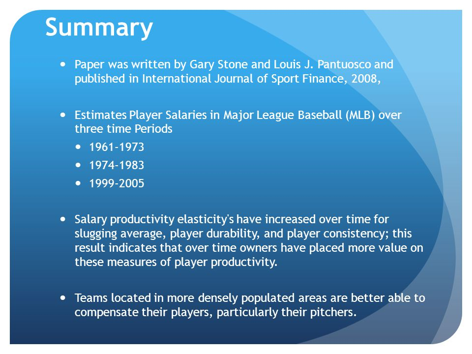 Summary Paper was written by Gary Stone and Louis J. Pantuosco and published in International Journal of Sport Finance, 2008, Estimates Player Salarie