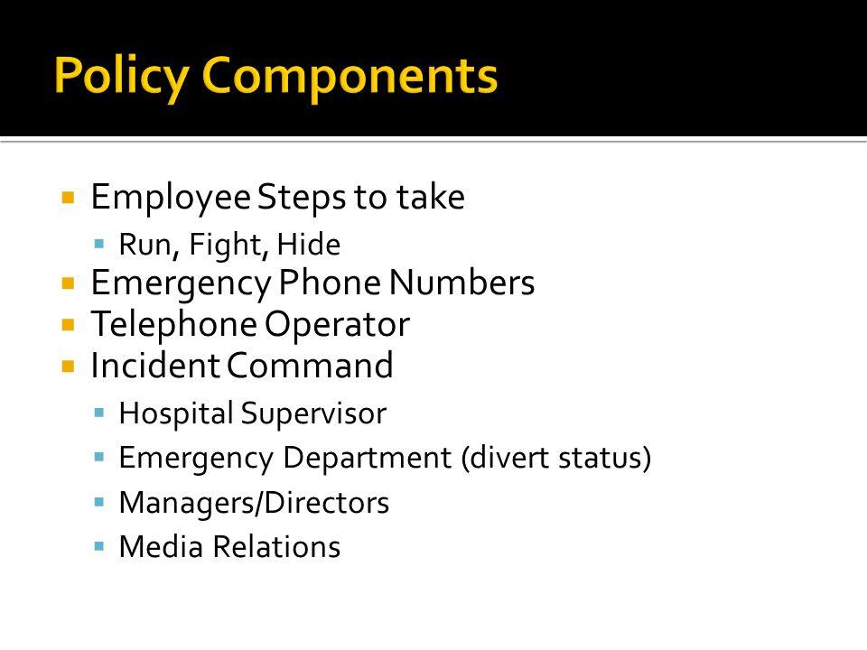  Employee Steps to take  Run, Fight, Hide  Emergency Phone Numbers  Telephone Operator  Incident Command  Hospital Supervisor  Emergency Depart