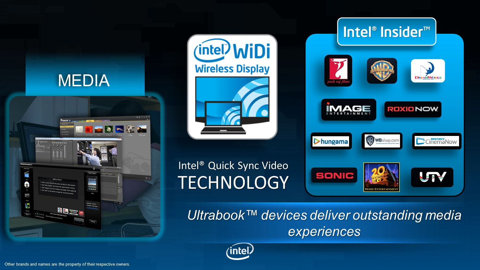 Intel® Quick Sync Video TECHNOLOGY MEDIA Other brands and names are the property of their respective owners.