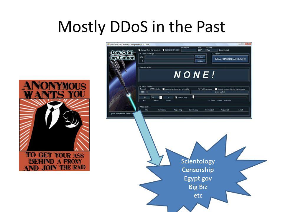 Mostly DDoS in the Past Scientology Censorship Egypt gov Big Biz etc