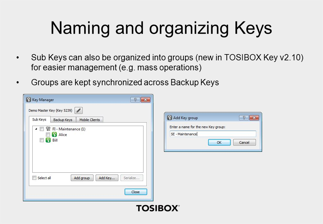 Naming and organizing Keys Sub Keys can also be organized into groups (new in TOSIBOX Key v2.10) for easier management (e.g.