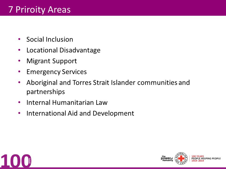 7 Priroity Areas Social Inclusion Locational Disadvantage Migrant Support Emergency Services Aboriginal and Torres Strait Islander communities and par