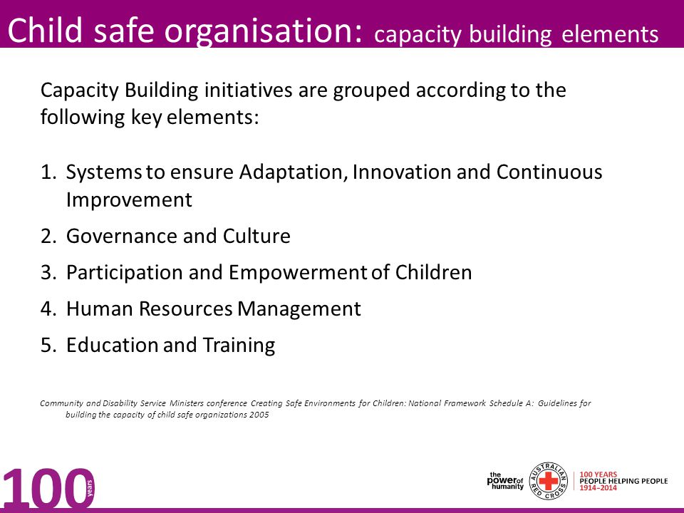 Child safe organisation: capacity building elements Capacity Building initiatives are grouped according to the following key elements: 1.Systems to ensure Adaptation, Innovation and Continuous Improvement 2.Governance and Culture 3.Participation and Empowerment of Children 4.Human Resources Management 5.Education and Training Community and Disability Service Ministers conference Creating Safe Environments for Children: National Framework Schedule A: Guidelines for building the capacity of child safe organizations 2005