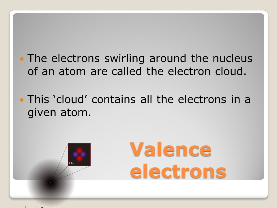 Valence electrons The electrons swirling around the nucleus of an atom are called the electron cloud.