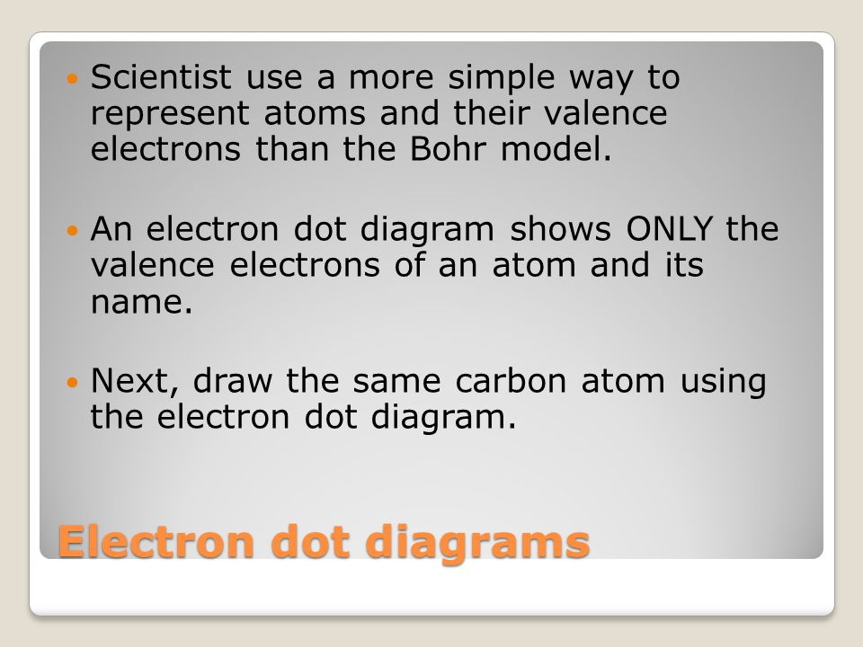 Electron dot diagrams Scientist use a more simple way to represent atoms and their valence electrons than the Bohr model. An electron dot diagram show