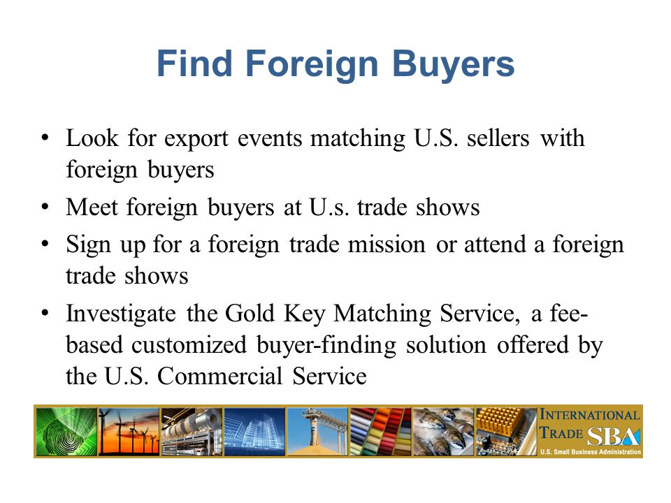 Find Foreign Buyers Look for export events matching U.S.