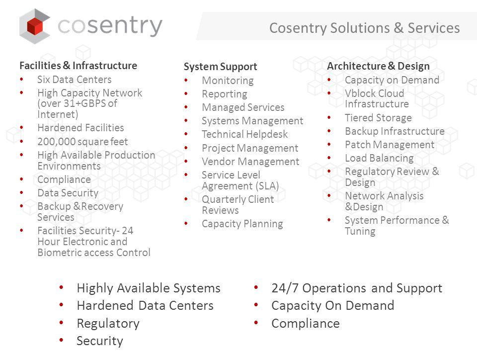 Cosentry's Flexible Service Capabilities Managed Applications Business Continuity Web Hosting Content Management IaaS Enablement Compliant Data Centers