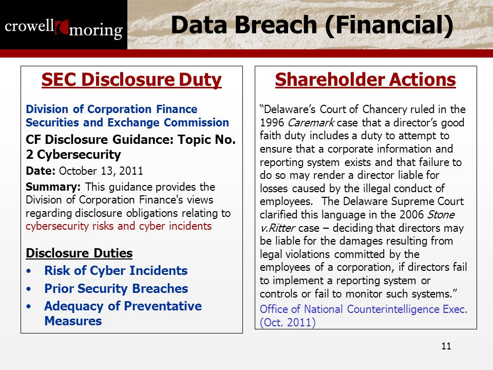 11 Data Breach (Financial) SEC Disclosure Duty Division of Corporation Finance Securities and Exchange Commission CF Disclosure Guidance: Topic No.
