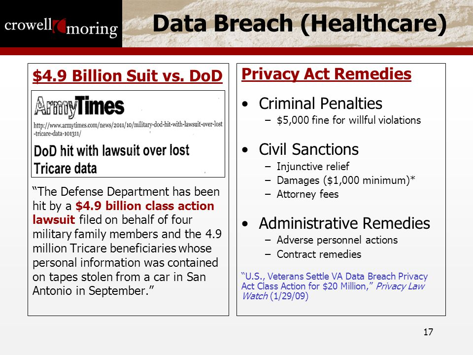 17 Data Breach (Healthcare) $4.9 Billion Suit vs.