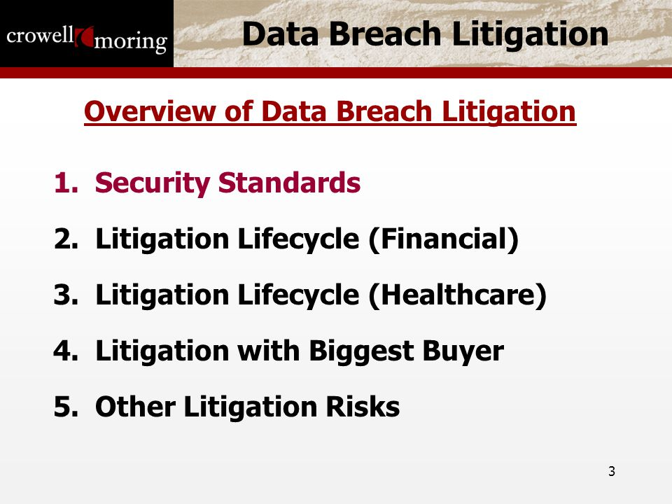 3 Data Breach Litigation Overview of Data Breach Litigation 1.