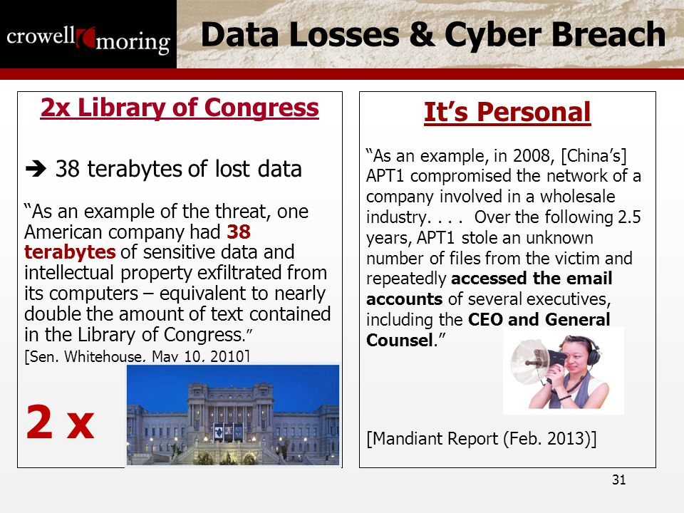 31 Data Losses & Cyber Breach 2x Library of Congress  38 terabytes of lost data As an example of the threat, one American company had 38 terabytes of sensitive data and intellectual property exfiltrated from its computers – equivalent to nearly double the amount of text contained in the Library of Congress. [Sen.