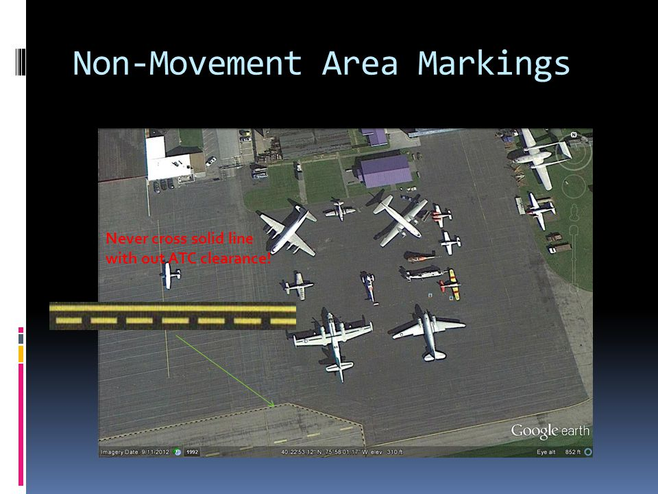 Non-Movement Area Markings Never cross solid line with out ATC clearance!