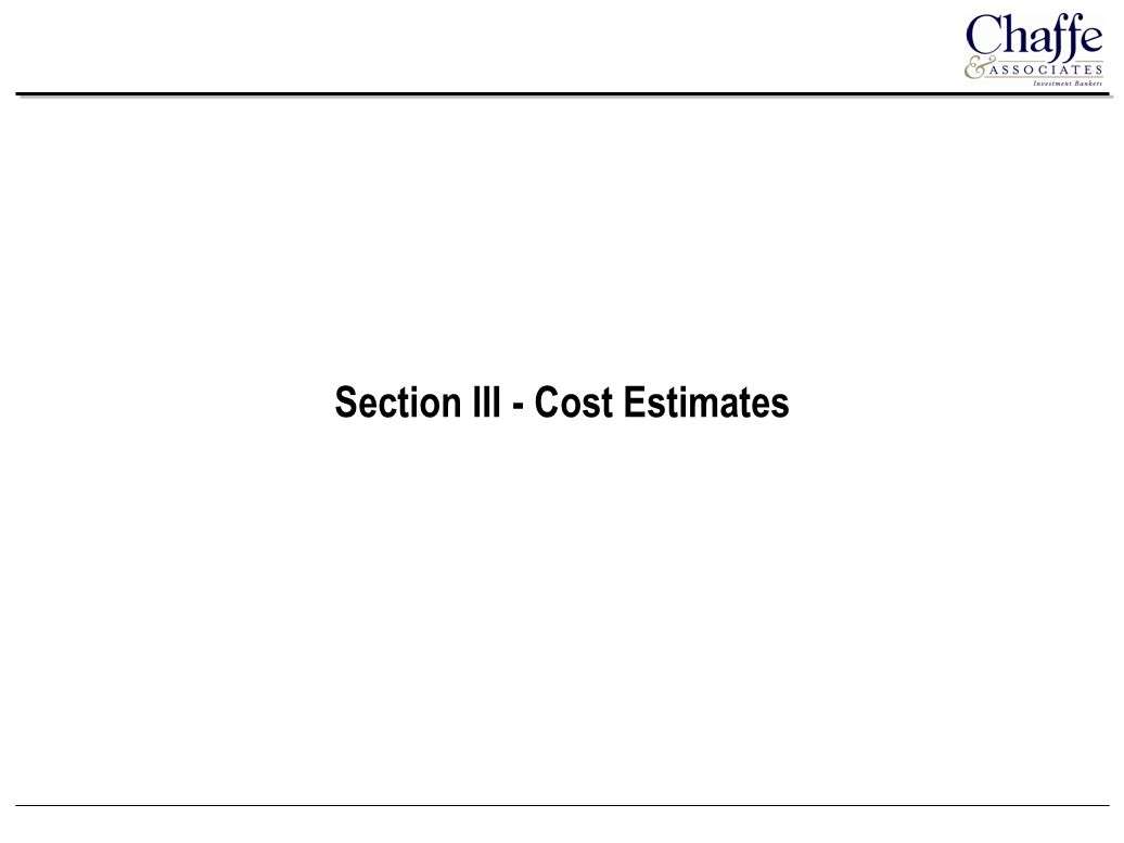 Section III - Cost Estimates