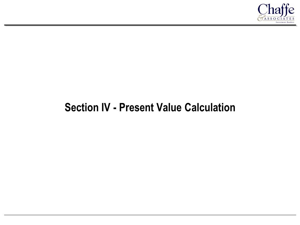 Section IV - Present Value Calculation