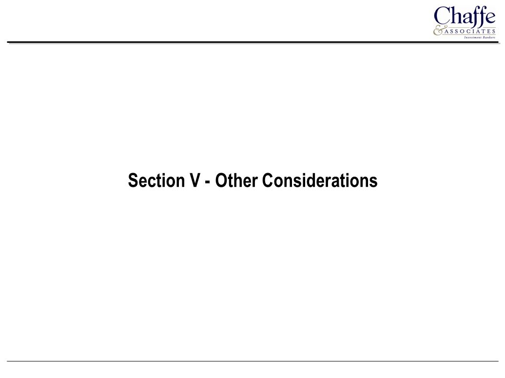 Section V - Other Considerations