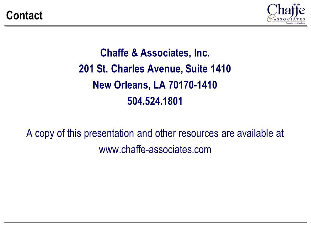 Contact Chaffe & Associates, Inc. 201 St.