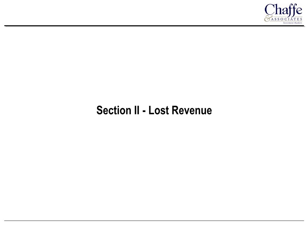 Section II - Lost Revenue