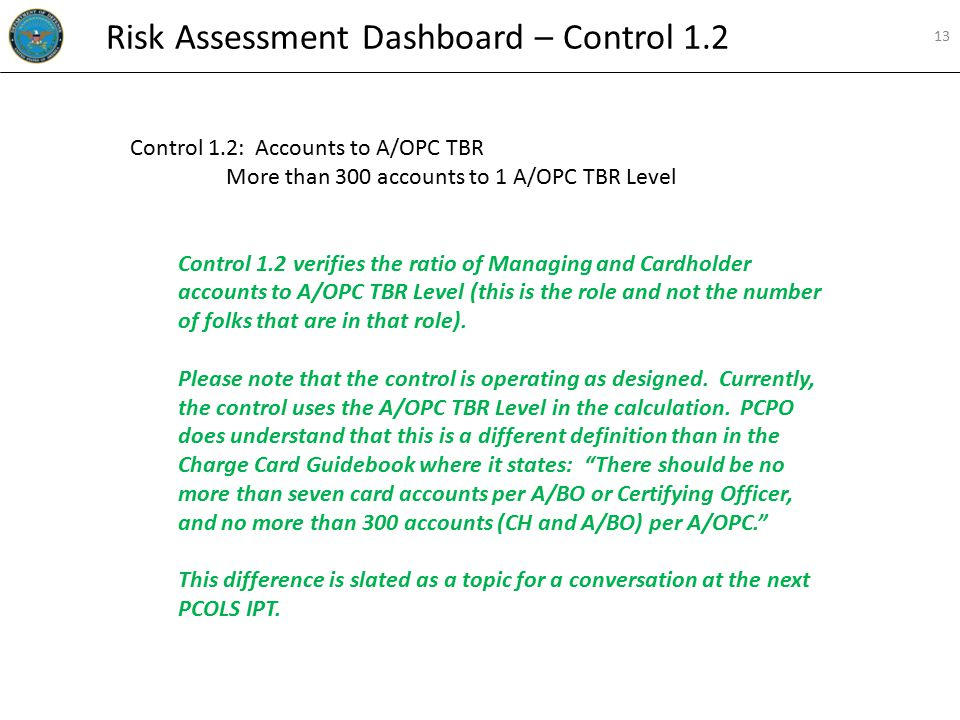 Control 1.2: Accounts to A/OPC TBR More than 300 accounts to 1 A/OPC TBR Level Control 1.2 verifies the ratio of Managing and Cardholder accounts to A