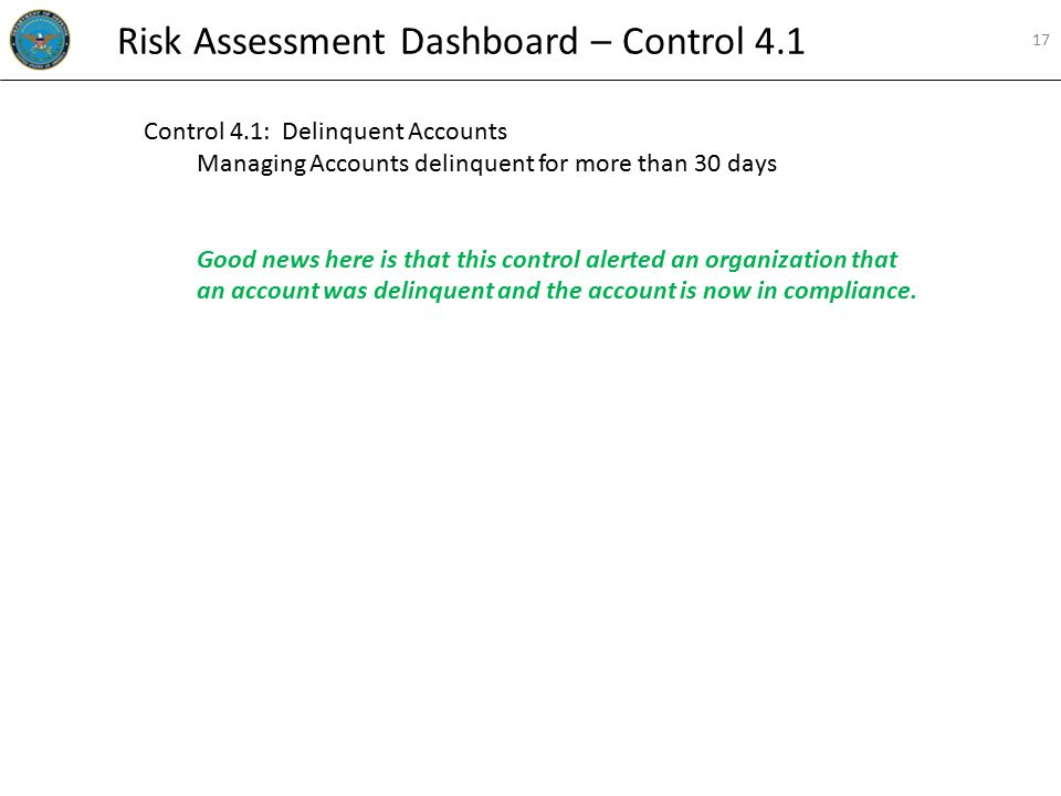 Control 4.1: Delinquent Accounts Managing Accounts delinquent for more than 30 days Good news here is that this control alerted an organization that an account was delinquent and the account is now in compliance.