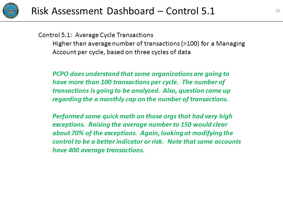 Control 5.1: Average Cycle Transactions Higher than average number of transactions (>100) for a Managing Account per cycle, based on three cycles of data PCPO does understand that some organizations are going to have more than 100 transactions per cycle.