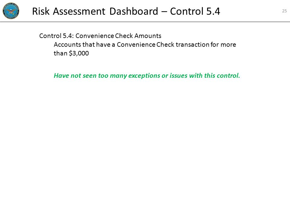 Control 5.4: Convenience Check Amounts Accounts that have a Convenience Check transaction for more than $3,000 Have not seen too many exceptions or is