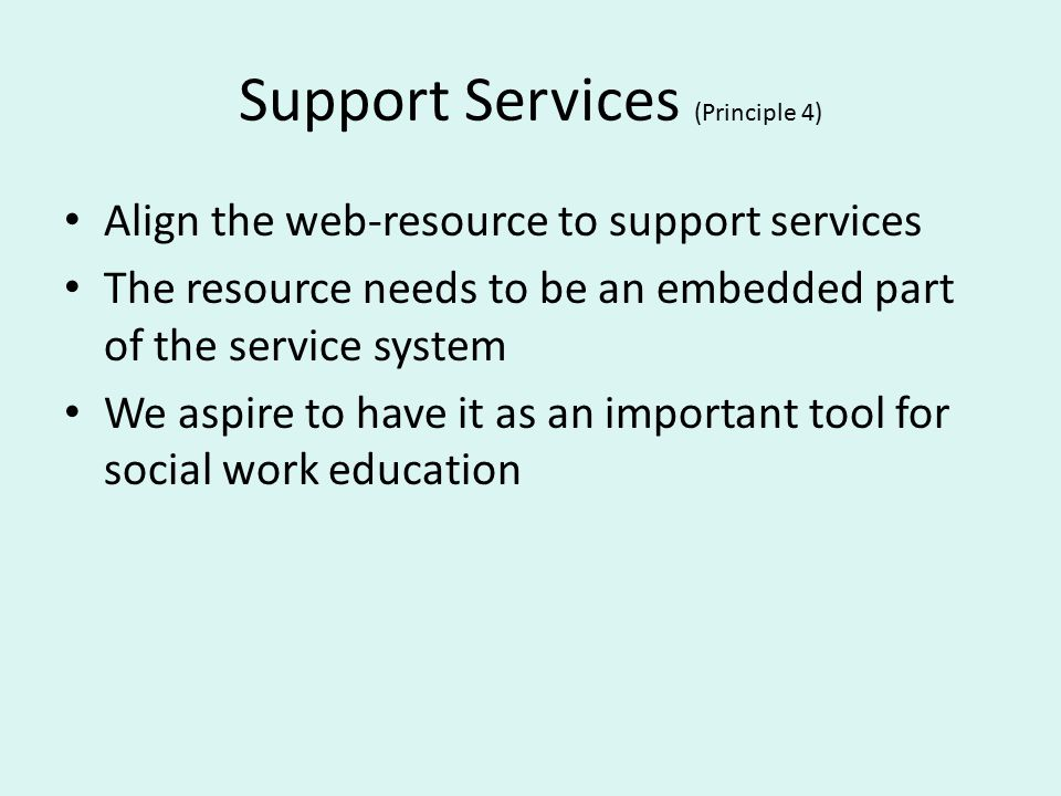 Support Services (Principle 4) Align the web-resource to support services The resource needs to be an embedded part of the service system We aspire to have it as an important tool for social work education