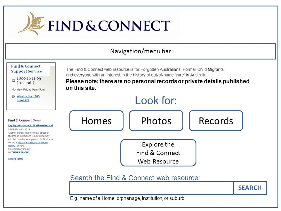 Navigation/menu bar Please note: there are no personal records or private details published on this site. HomesPhotosRecords Explore the Find & Connec