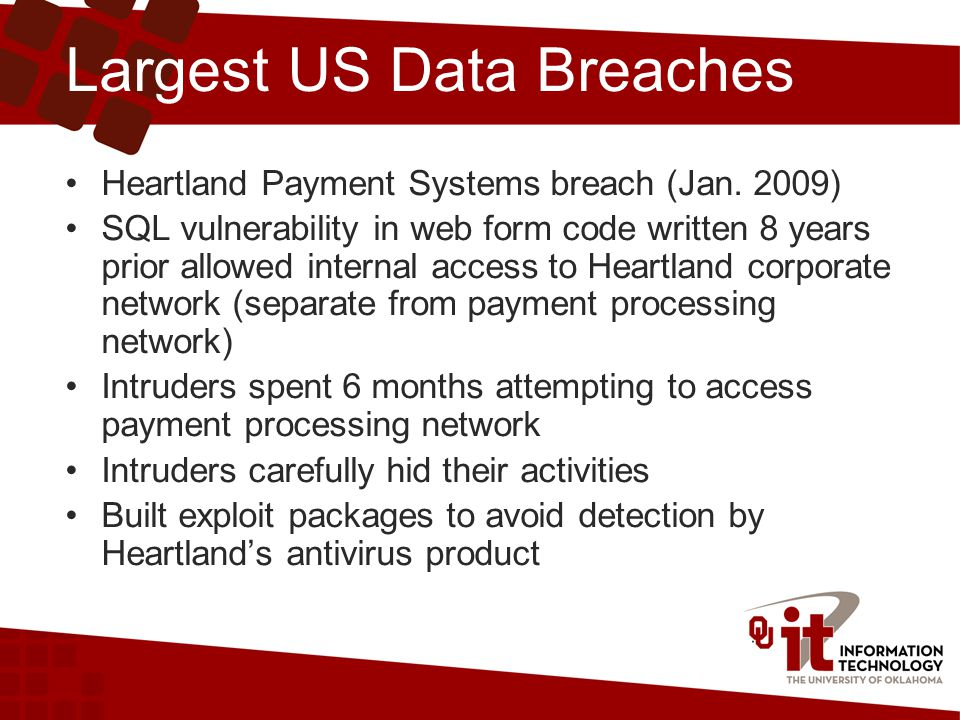 Largest US Data Breaches Heartland Payment Systems breach (Jan.