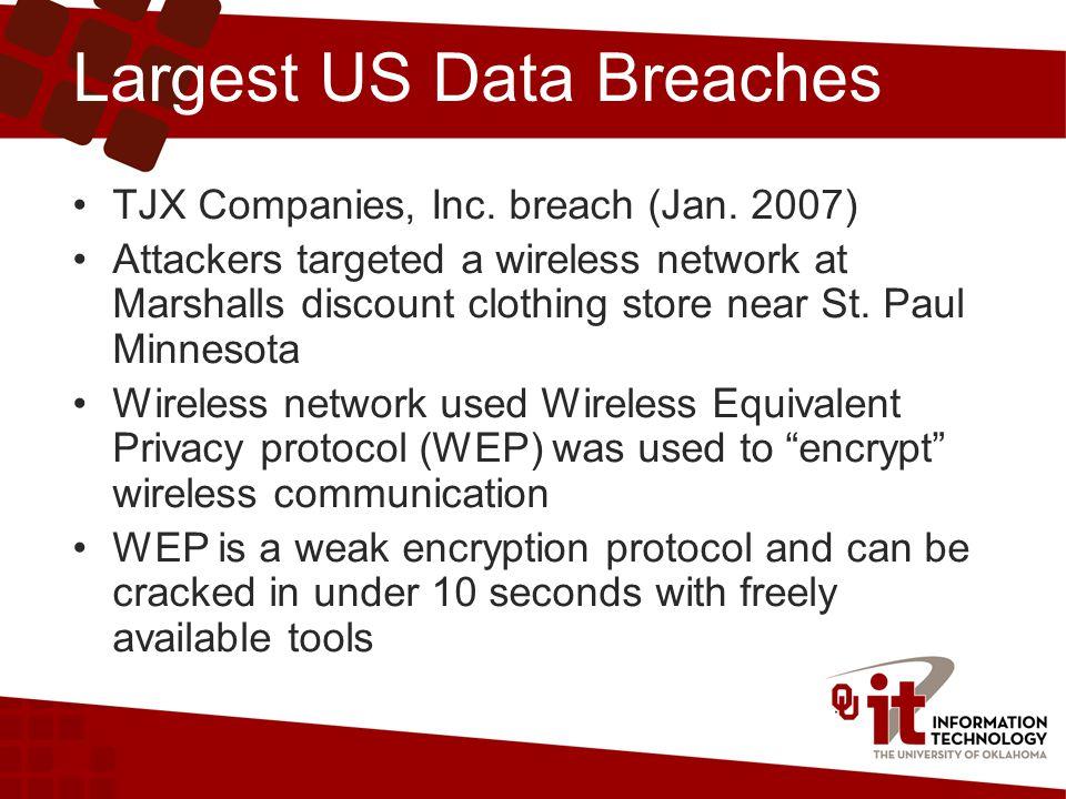 Largest US Data Breaches TJX Companies, Inc. breach (Jan.