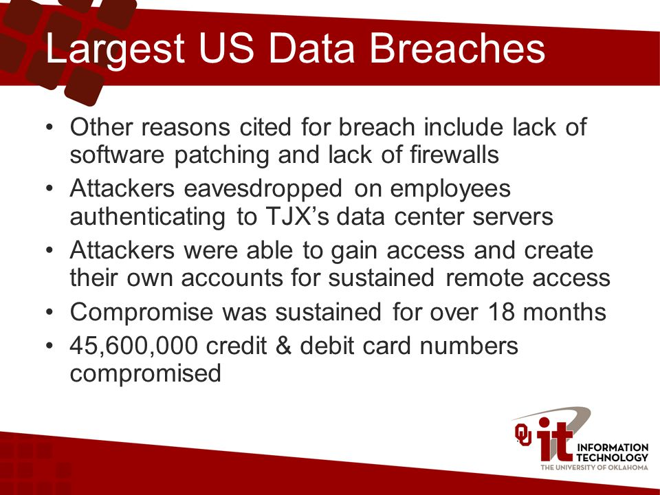 Largest US Data Breaches Other reasons cited for breach include lack of software patching and lack of firewalls Attackers eavesdropped on employees authenticating to TJX's data center servers Attackers were able to gain access and create their own accounts for sustained remote access Compromise was sustained for over 18 months 45,600,000 credit & debit card numbers compromised