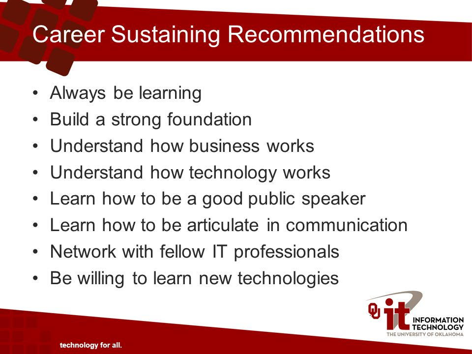 Career Sustaining Recommendations technology for all.
