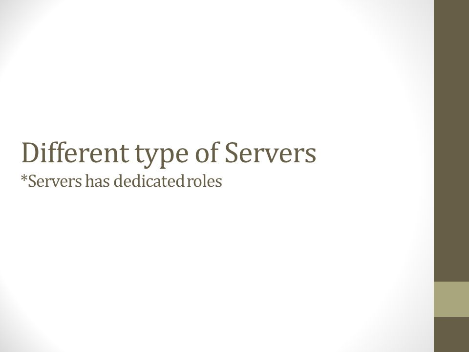 Different type of Servers *Servers has dedicated roles