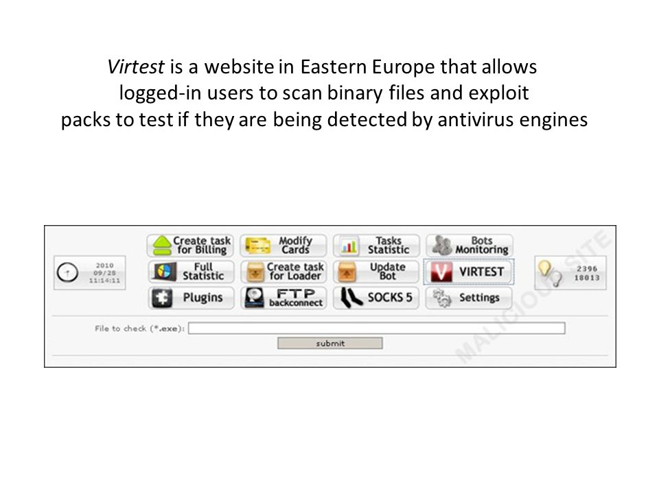 Virtest is a website in Eastern Europe that allows logged-in users to scan binary files and exploit packs to test if they are being detected by antivirus engines