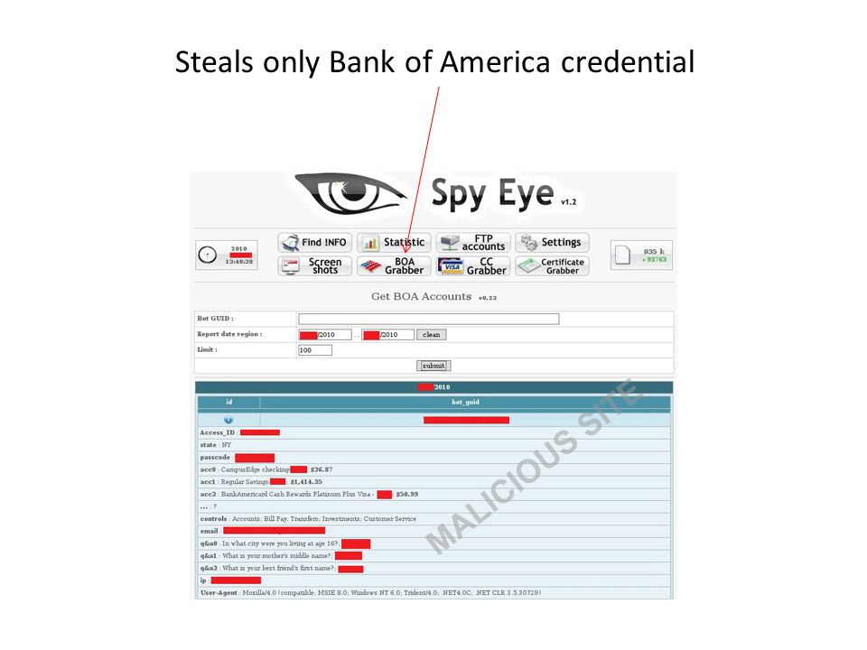 Steals only Bank of America credential