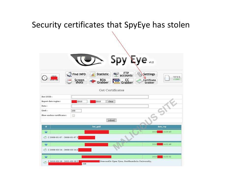 Security certificates that SpyEye has stolen