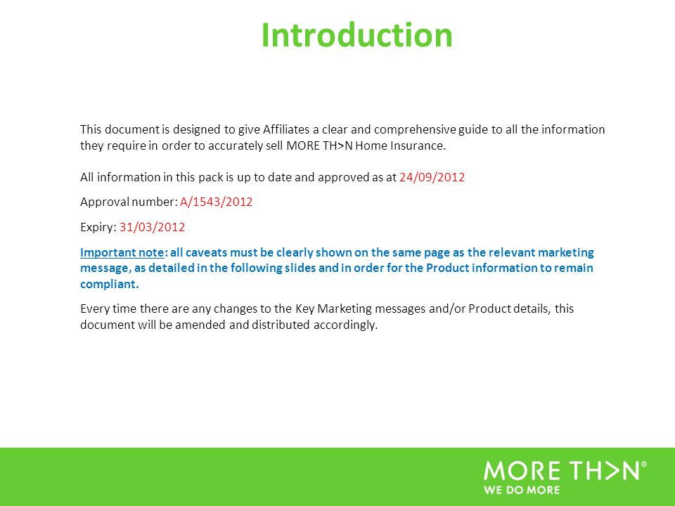 Introduction This document is designed to give Affiliates a clear and comprehensive guide to all the information they require in order to accurately s