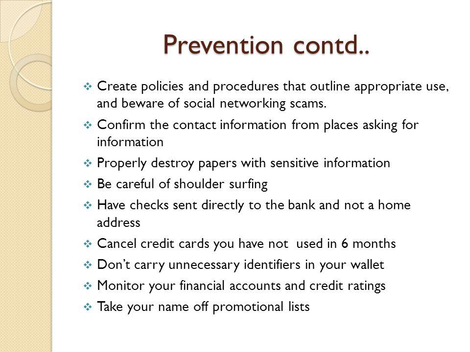Prevention contd..