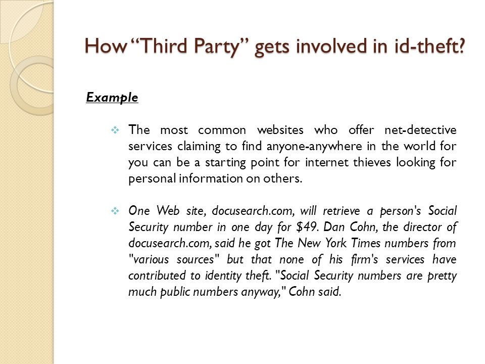 How Third Party gets involved in id-theft.