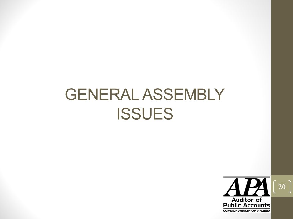 GENERAL ASSEMBLY ISSUES 20
