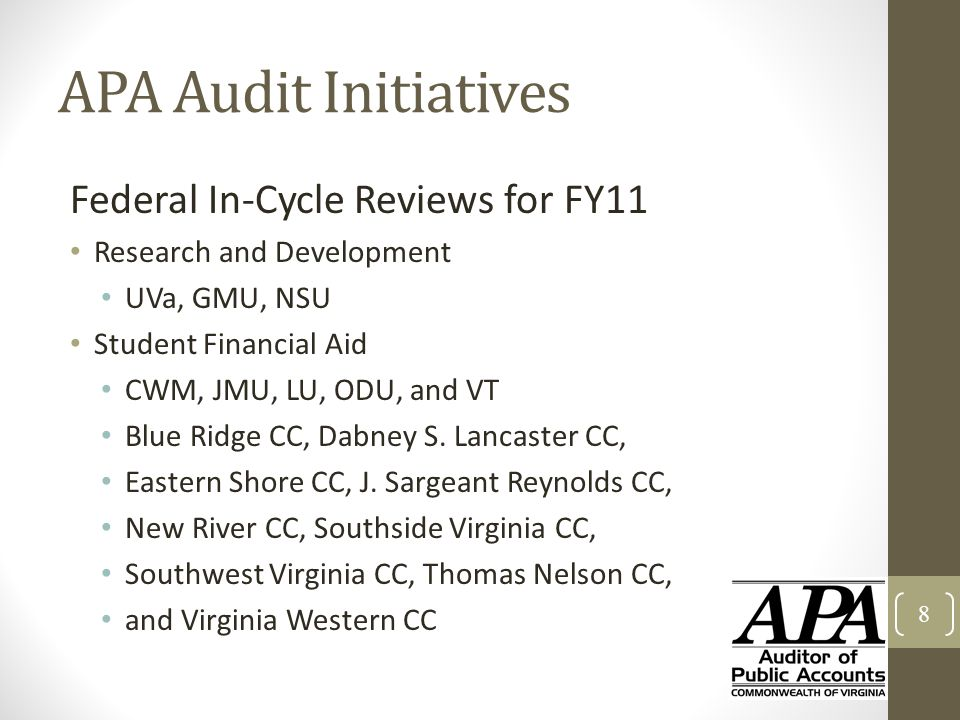 APA Audit Initiatives Federal In-Cycle Reviews for FY11 Research and Development UVa, GMU, NSU Student Financial Aid CWM, JMU, LU, ODU, and VT Blue Ri
